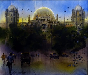 GPO MUMBAI by Bhuwan Silhare, Impressionism Painting, Acrylic on Canvas, Black color