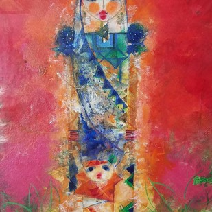 Krishna 1 - Painting by Archana Sharma, Expressionism Painting, Acrylic & Ink on Canvas, Brown color