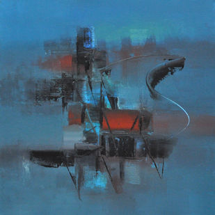Blue by Raju Durshettiwar, Abstract Painting, Acrylic on Canvas, Blue color