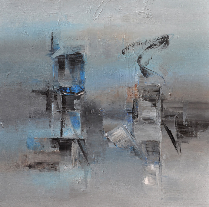 Resting Gray by Raju Durshettiwar, Abstract Painting, Acrylic on Canvas, Gray color