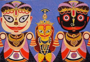 Triratna 2 by Bhaskar Lahiri, Folk Painting, Acrylic on Canvas, Brown color