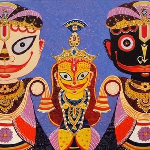 Triratna 2 by Bhaskar Lahiri, Folk Painting, Acrylic on Canvas, Brown color