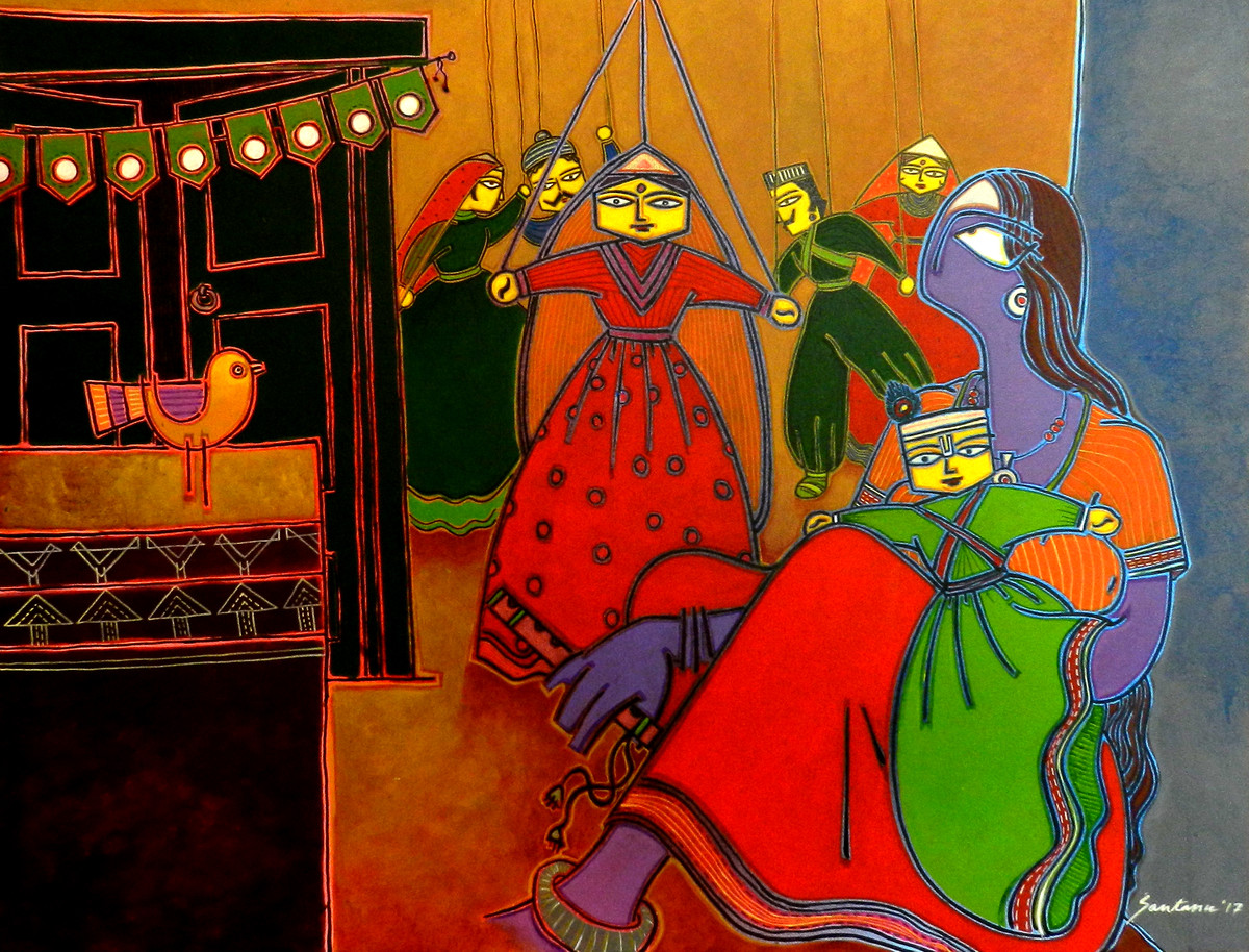 A lady with a puppet by Santanu Nandan Dinda, Expressionism Painting, Acrylic on Canvas, Brown color