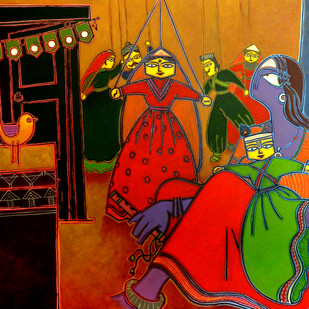 A lady with a puppet Digital Print by Santanu Nandan Dinda,Expressionism