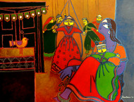 A lady with puppets by Santanu Nandan Dinda, Expressionism Painting, Acrylic on Canvas, Brown color
