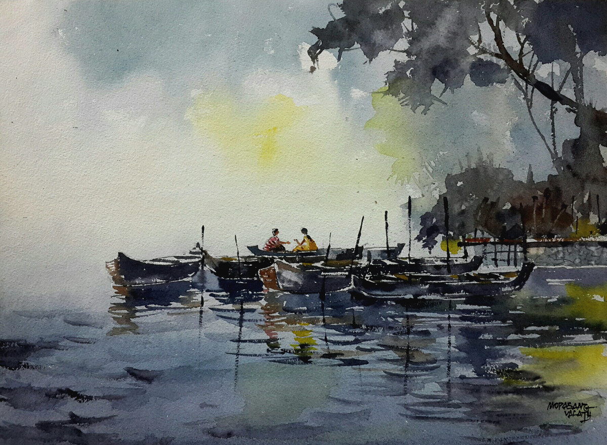 Riverside Chitchat by Mopasang Valath, Impressionism Painting, Watercolor on Paper, Gray color