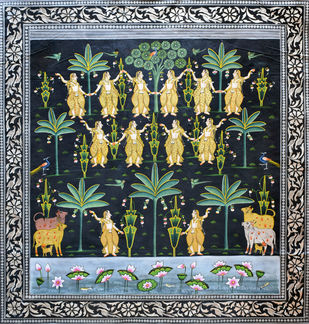 Pichwai Art by Unknown Artist, Traditional Painting, Stone Colour on Cloth,