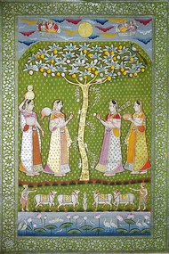 Pichwai Art by Unknown Artist, Folk Painting, Stone Colour on Cloth, Beige color