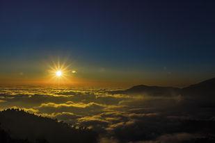 Sunset at Nainital by Nitin Akolia, Image Photography, Digital Print on Paper, Blue color