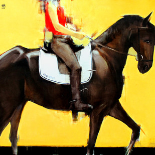 progress by Aditya Shirke, Expressionism Painting, Oil & Acrylic on Canvas, Yellow color
