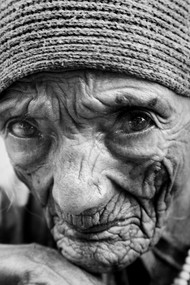Old lady Portrait in Uttarakahnd by Nitin Akolia, Image Photography, Digital Print on Enhanced Matt, Gray color