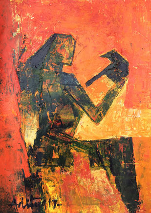 CONTIGUOUS - I by Aditya Dev, Expressionism Painting, Acrylic on Paper, Brown color