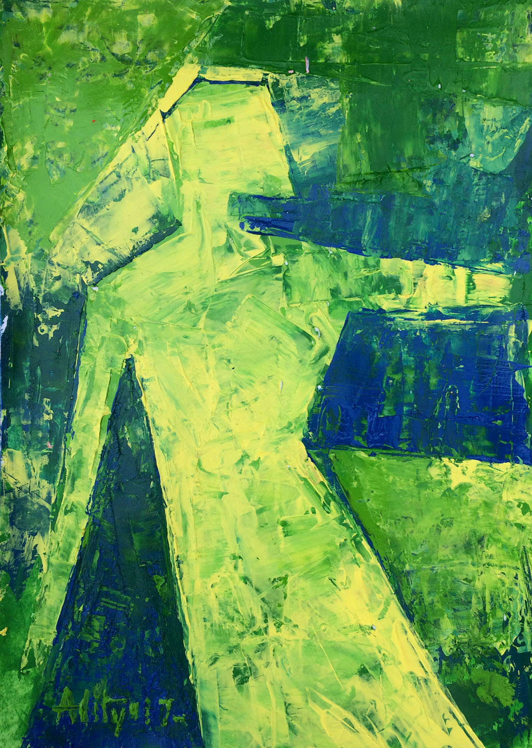 CONTIGUOUS- 3 by Aditya Dev, Expressionism Painting, Acrylic on Paper, Green color