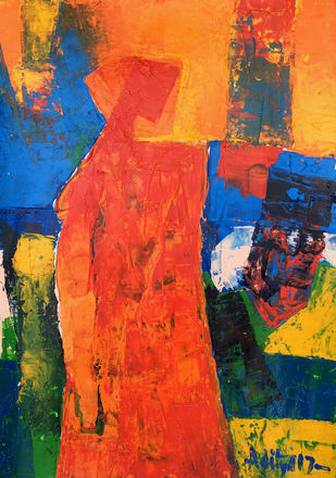 CONTIGUOUS- 4 by Aditya Dev, Expressionism Painting, Acrylic on Paper, Red color