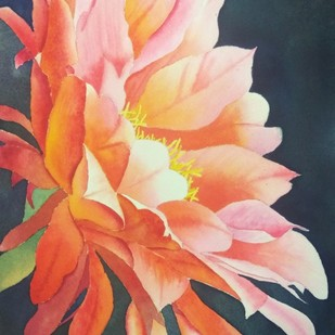 Cactus Bloom by Poulami Basu, Impressionism Painting, Watercolor Wash on Paper, Brown color