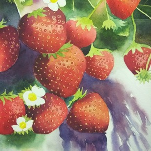 Strawberries by Poulami Basu, Impressionism Painting, Watercolor on Paper, Brown color