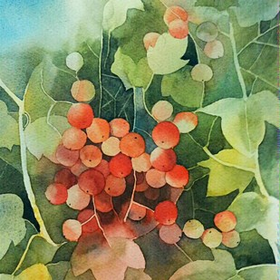 Berries Digital Print by Poulami Basu,Impressionism