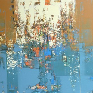 untitled by Stalin P J, Abstract Painting, Acrylic on Canvas, Beige color