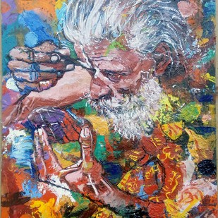 Sadhu by Sreenivasa Ram Makineedi, Expressionism Painting, Oil on Acrylic Sheet, Brown color