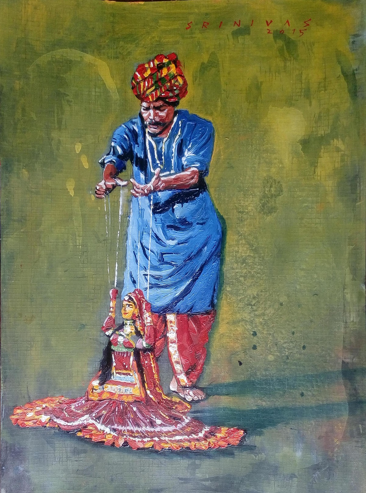 Puppet Master by Sreenivasa Ram Makineedi, Expressionism Painting, Oil on Paper, Green color