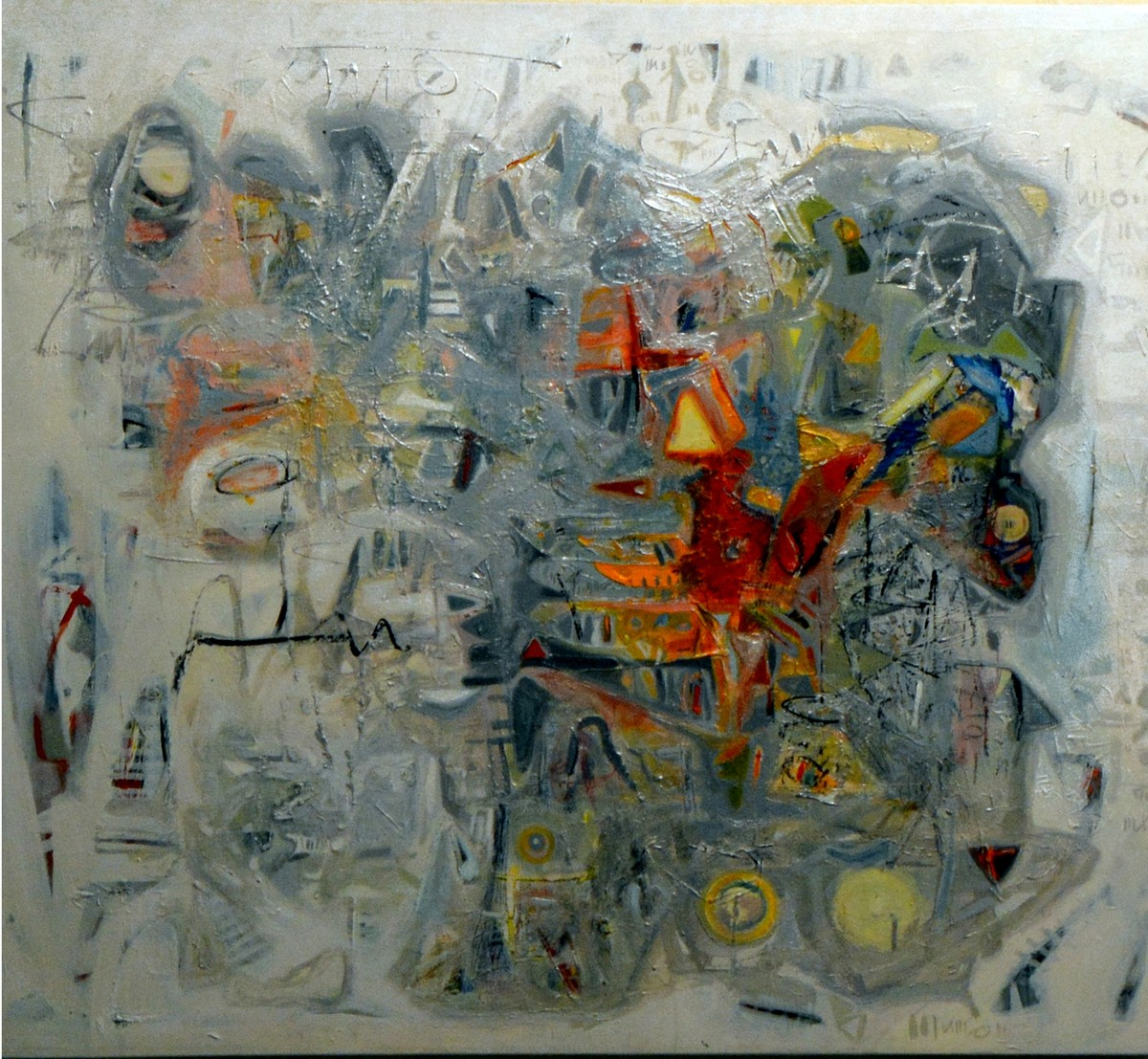 UNTOLD NATURE 12 by Rajesh Kumar Singh, Abstract Painting, Acrylic on Canvas, Gray color