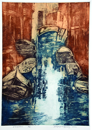 Untitled by Surya Prakash, Abstract Printmaking, Etching on Paper, Brown color