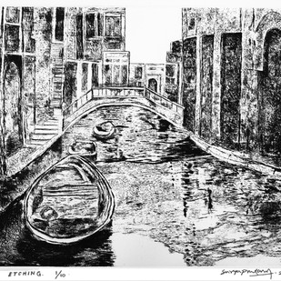 Untitled by Surya Prakash, Impressionism Printmaking, Etching on Paper, Gray color