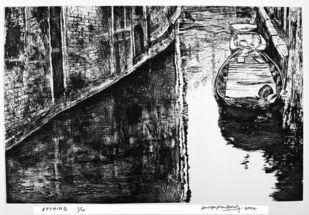 Untitled by Surya Prakash, Impressionism Printmaking, Etching on Paper, Gray color