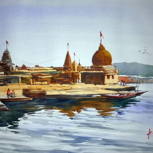 Temple by prasanta maiti, Impressionism Painting, Watercolor on Paper, Cyan color