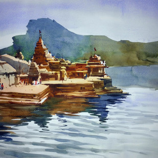 Temple01 by prasanta maiti, Impressionism Painting, Watercolor on Paper, Cyan color