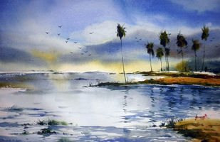 Landscape02 by prasanta maiti, Impressionism Painting, Watercolor on Paper, Blue color