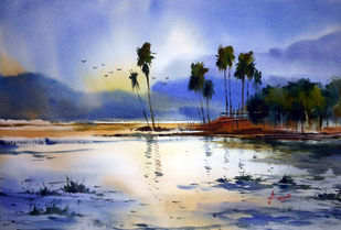 Landscape03 by prasanta maiti, Impressionism Painting, Watercolor on Paper, Blue color
