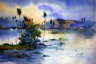 Landscape04 by prasanta maiti, Impressionism Painting, Watercolor on Paper, Blue color