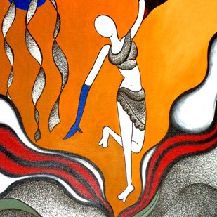 Dancing girl by Reena Tomar, Expressionism Painting, Acrylic & Ink on Canvas, Brown color