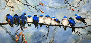 Rest out of nest by Sunil Linus De, Impressionism Painting, Acrylic on Canvas, Cyan color