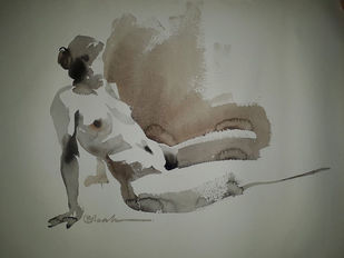 Reclined1 by Abak Kundu, Impressionism Painting, Watercolor on Paper, Brown color