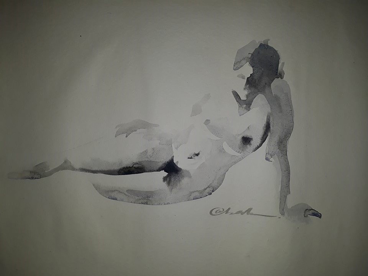 Reclined2 by A Kundu, Impressionism Painting, Watercolor on Paper, Gray color
