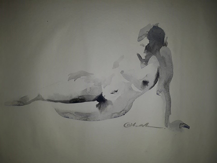 Reclined2 by Abak Kundu, Impressionism Painting, Watercolor on Paper, Gray color
