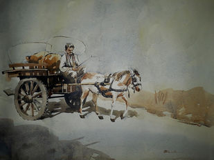 On the way by Abak Kundu, Impressionism Painting, Watercolor on Paper, Gray color