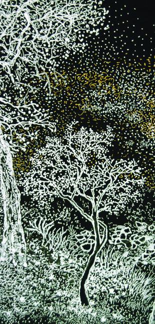 Untitled by Surya Prakash, Impressionism Printmaking, Metallic Pen on Paper Board, Gray color