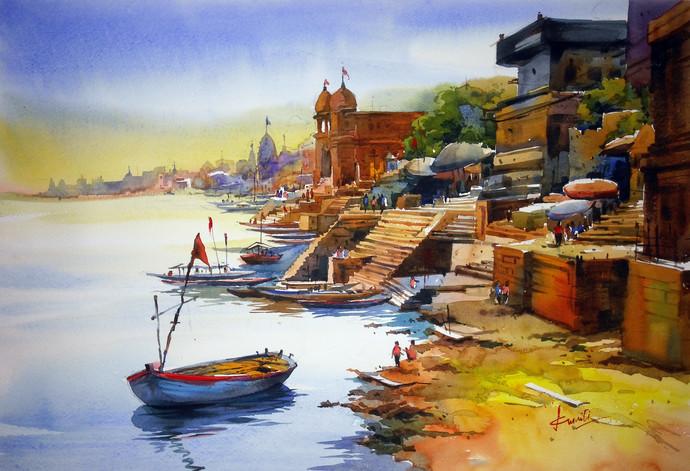 Varanasi by prasanta maiti, Impressionism Painting, Watercolor on Paper, Brown color