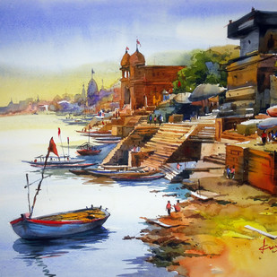 Varanasi by prasanta maiti, Impressionism Painting, Watercolor on Paper, Brown color