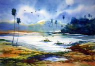 village pond by prasanta maiti, Impressionism Painting, Watercolor on Paper, Cyan color