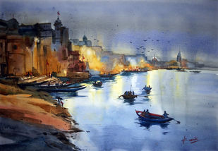 Early morning by prasanta maiti, Impressionism Painting, Watercolor on Paper, Blue color