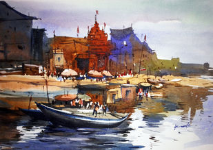 Varanasi01 by prasanta maiti, Impressionism Painting, Watercolor on Paper, Brown color