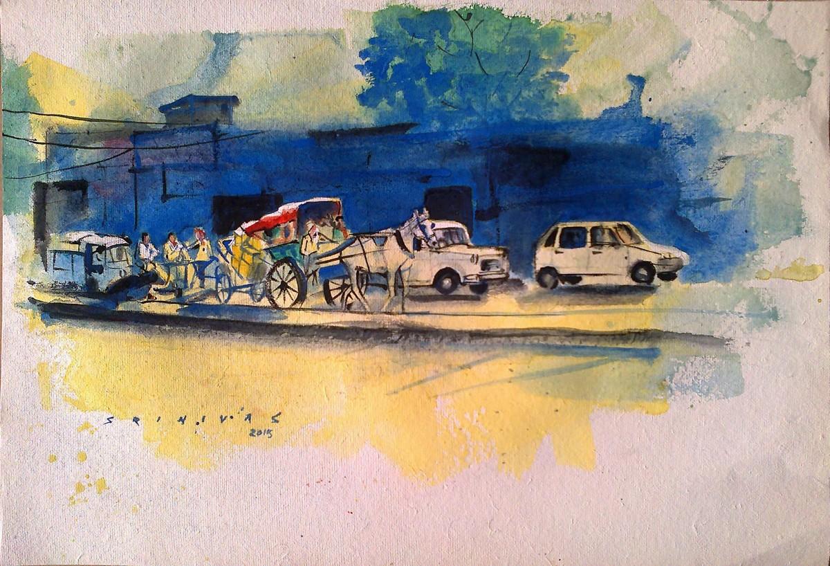 Street scene by Sreenivasa Ram Makineedi, Impressionism Painting, Watercolor on Paper, Beige color