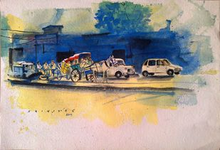 Street scene by Sreenivasa Ram Makineedi, Impressionism Painting, Watercolor on Paper, Beige color