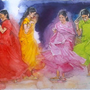 Butterflies by Sreenivasa Ram Makineedi, Impressionism Painting, Watercolor on Paper, Pink color