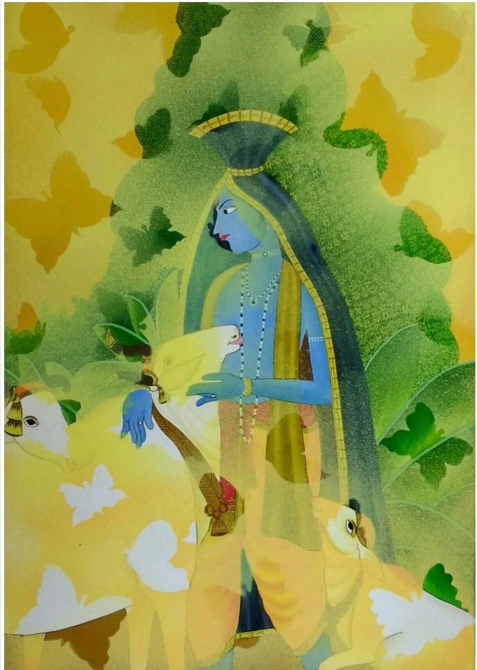 Freedom by Anupriya, Traditional Painting, Acrylic on Canvas, Green color