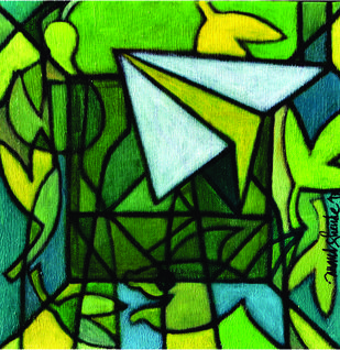 UNTITLED by Anand C Shende, Abstract Painting, Acrylic on Canvas, Green color